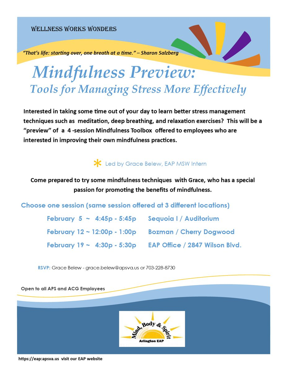 Join us today at 4:45 PM for the Mindfulness Preview session! The Mindfulness Preview Session will introduce participants to stress management techniques such as meditation, deep breath, and relaxation exercises. See the attached flyer for more info. <a target='_blank' href='https://t.co/nOqrl6O6Xg' rel=