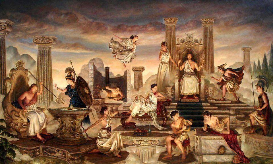 Картинка на горе олимп жили боги