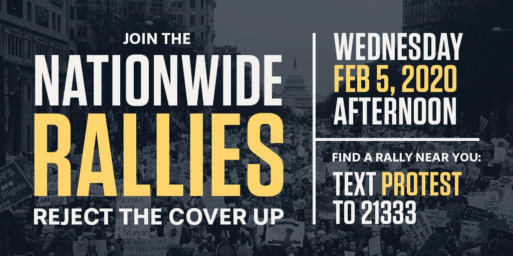 Today a majority of Senators are voting for more coverups, and more crimes. It's an embarrassment. Put a downpayment on kicking Trump out by joining a rally tonight to call it all out. Text PROTEST to 21333 to find the one nearest you.