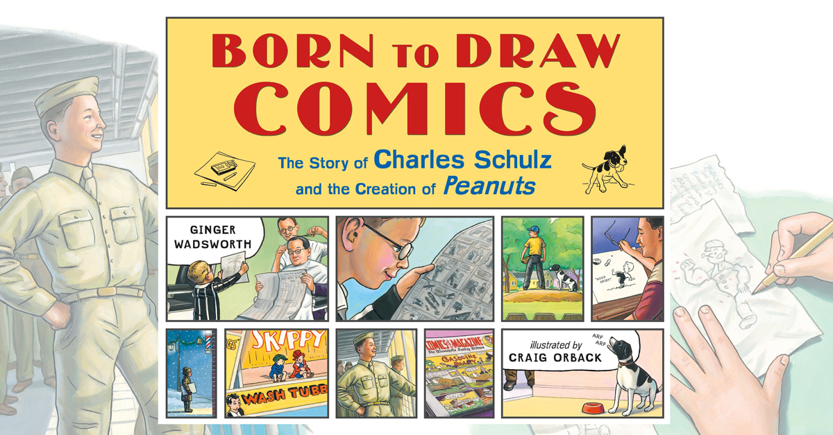 This Saturday, February 8, at 1:00 pm! Meet #SecondSaturdayCartoonists Ginger Wadsworth and Craig Orback, creators of the new book, Born to Draw Comics: The Story of Charles Schulz and the Creation of Peanuts. For more details visit: bit.ly/3b553sF