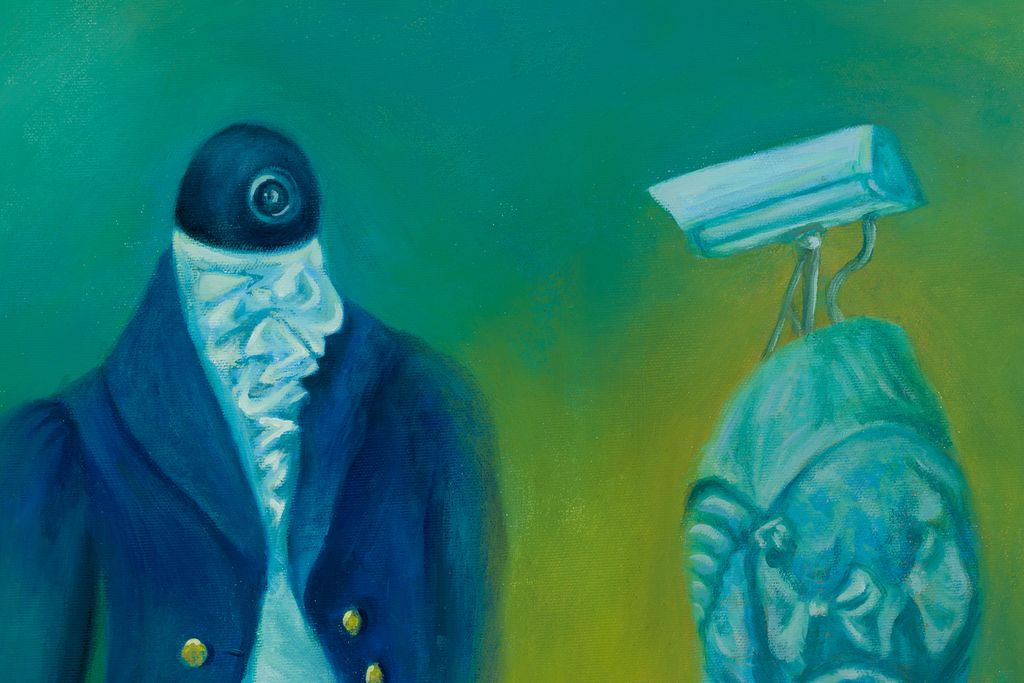 "Detail of ""The Conversation"" 2019 oil on canvas 68.3 x 88.5 cm  original available #art #artcollector #artist #artwork #contemporaryart #colors #painting #mkanisko #surrealart #surrealism #technologyart pic.twitter.com/BrDabekBET"