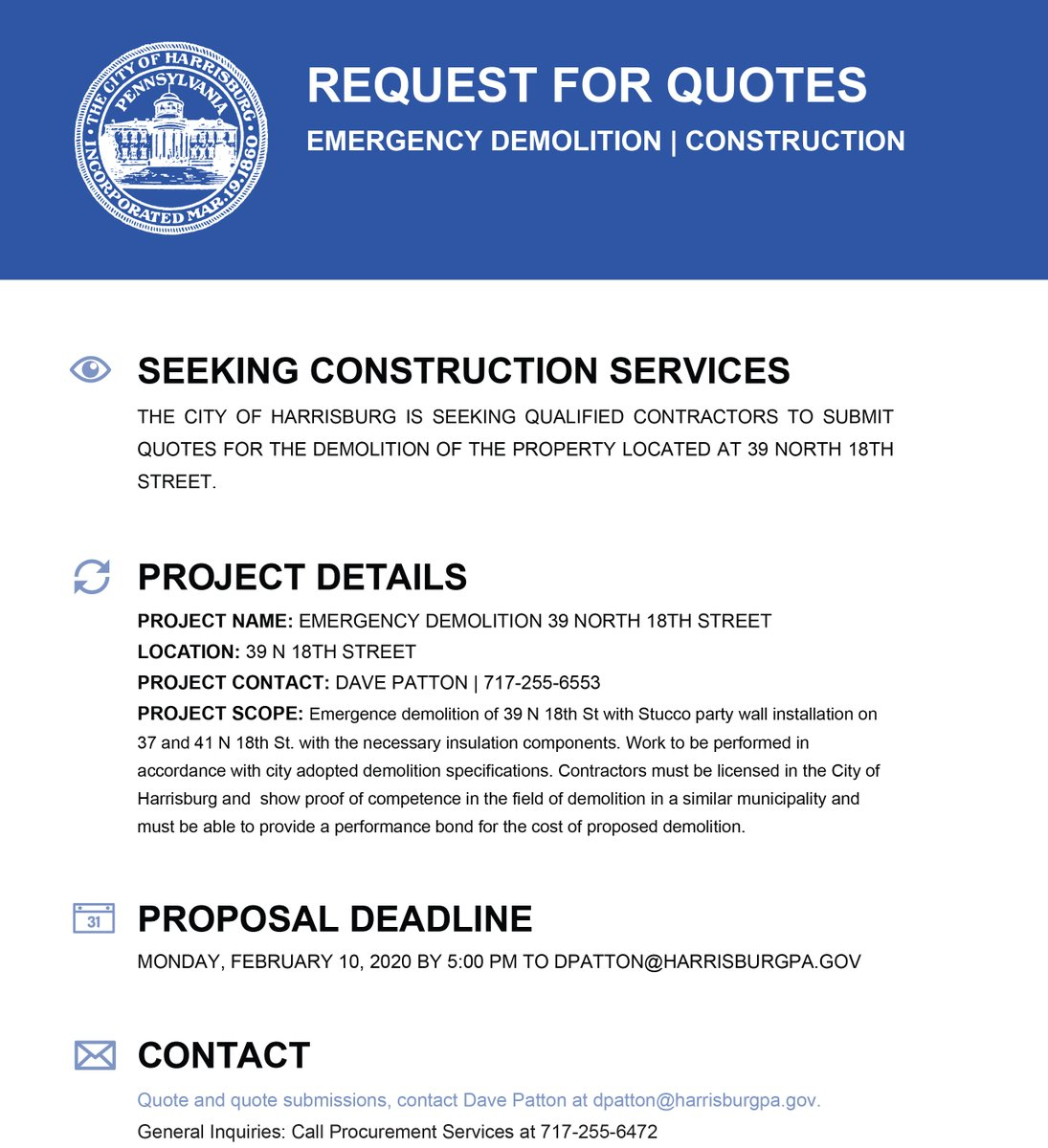 REQUEST FOR QUOTES EMERGENCY DEMOLITION   CONSTRUCTION