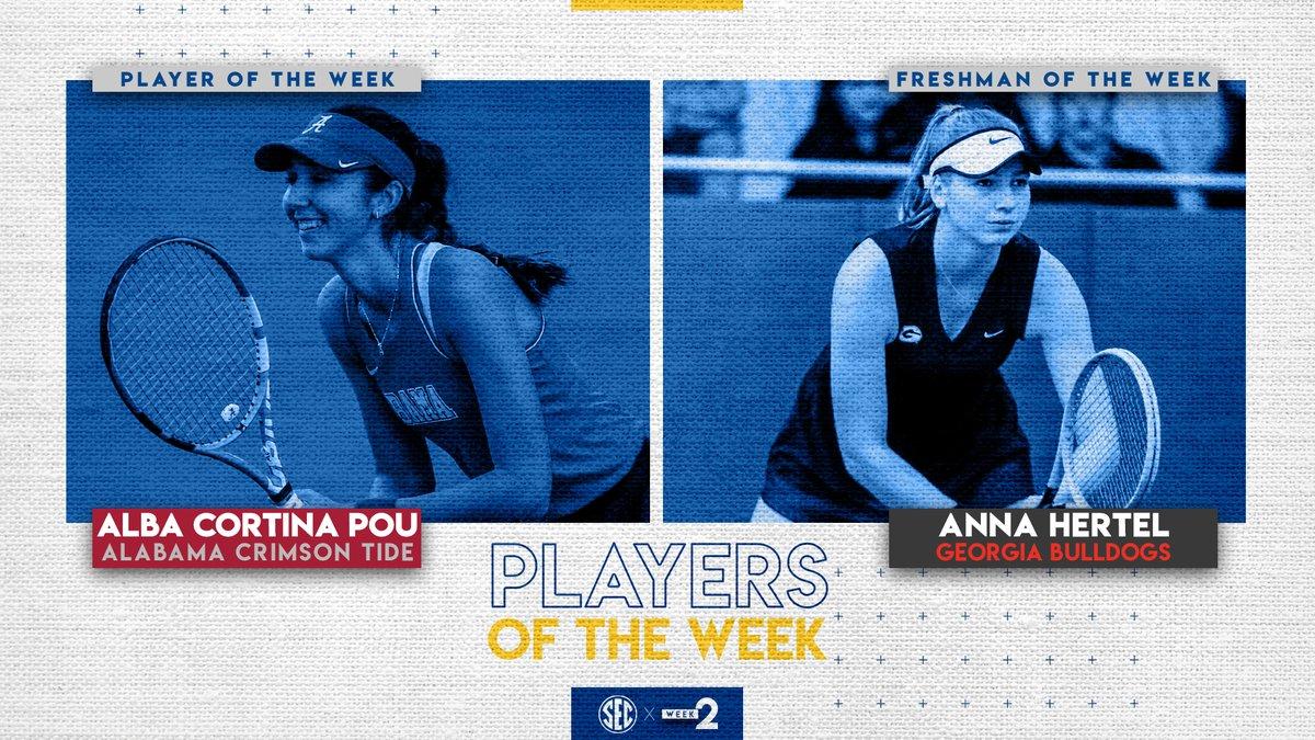 Women's tennis weekly honors go to: @AlabamaWTN Alba Cortina Pou (Player) & @UGAWomensTennis Anna Hertel, Georgia.