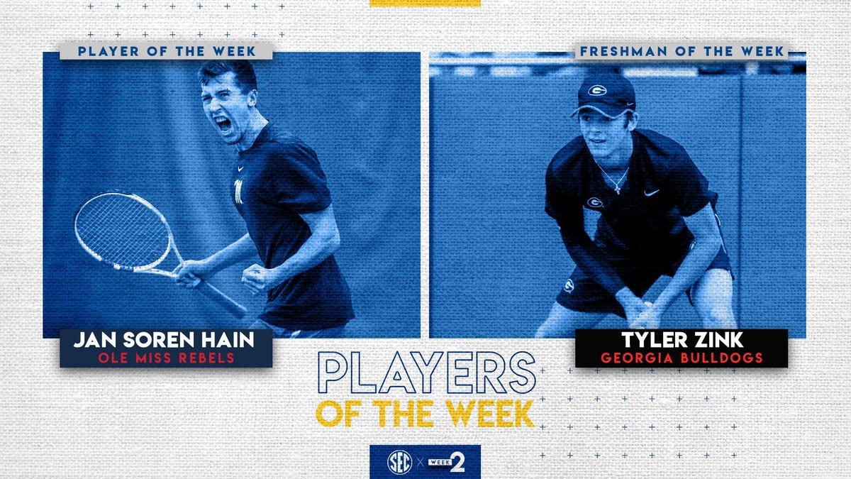Men's tennis weekly honors go to : @OleMissMTennis Jan Soren Hain (Player) & @UGATennis Tyler Zink (Freshman).