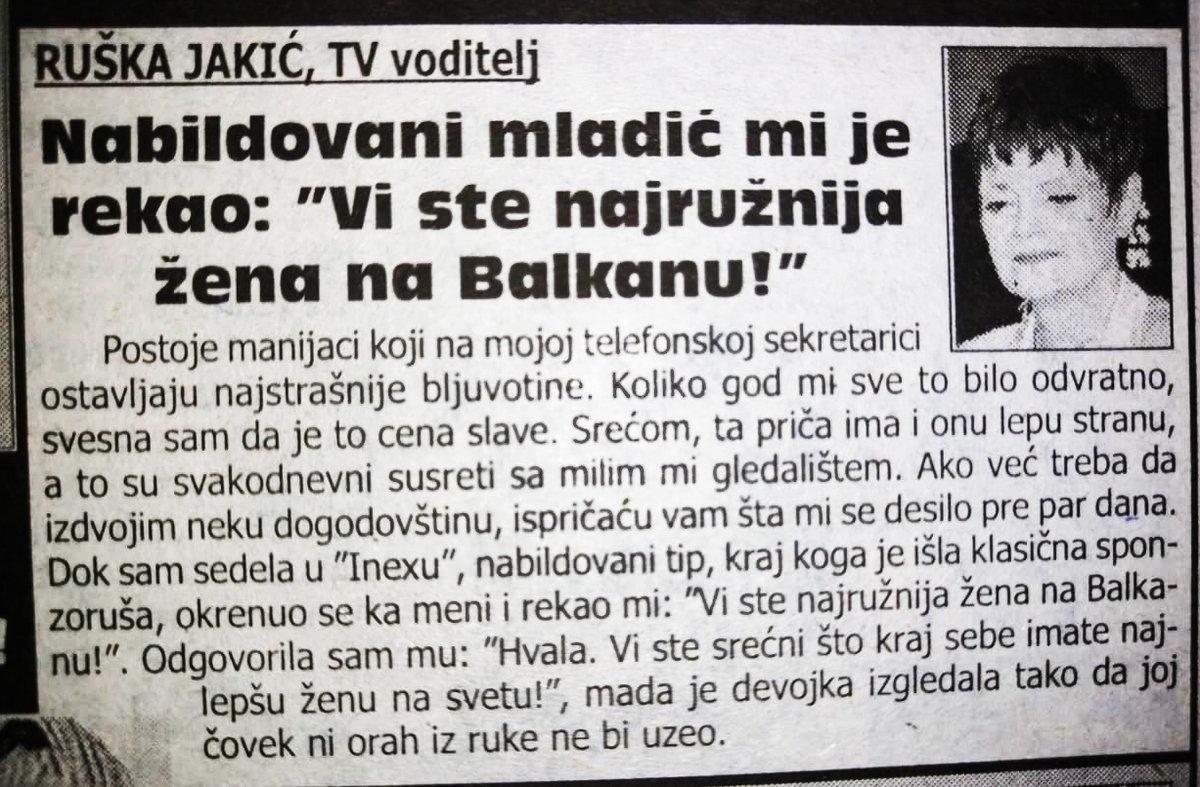 """Rušku Jakić uvredio bilder: """"Vi ste najružnija žena!"""""""