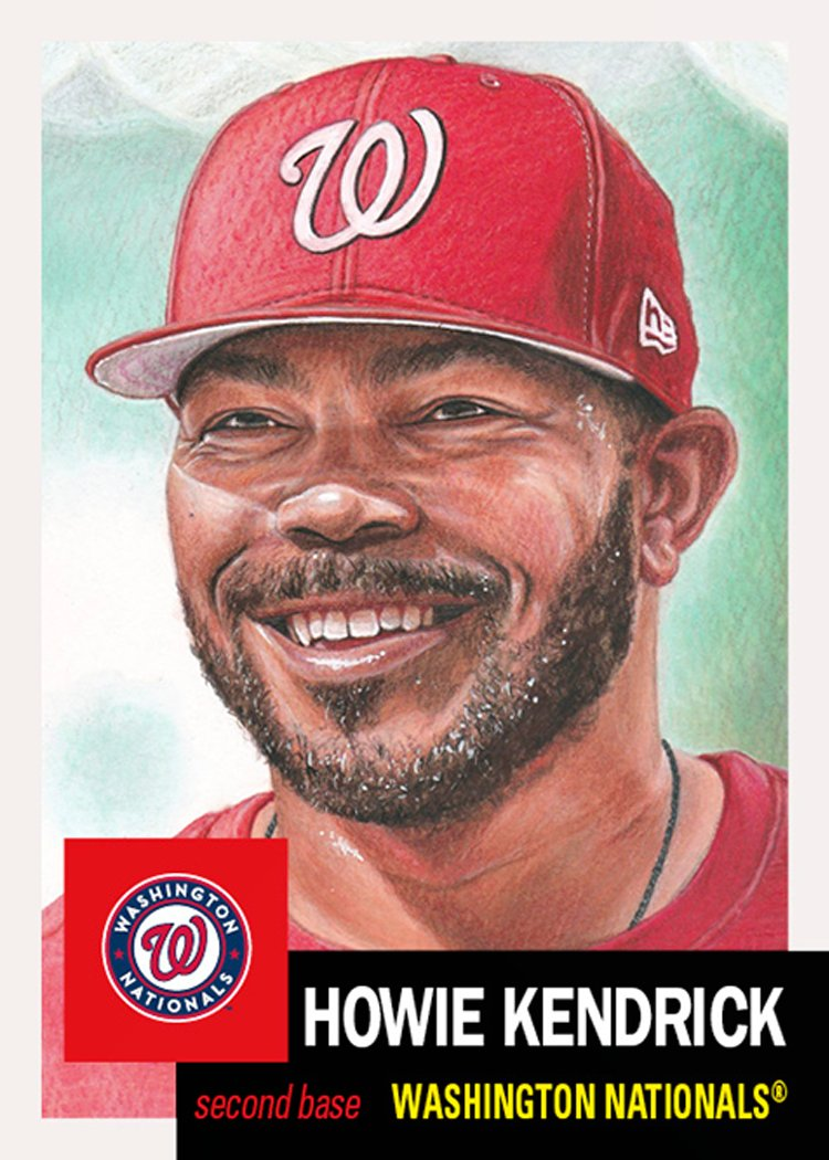 """2019 World Series hero Howie Kendrick is known in the set for breaking the """"Markakis Line"""" of 2,678.  Nick Markakis (#6) was the long standing anchor-man of the set and no longer even ranks in the bottom 50(!) of the 282 cards with print runs!  #ToppsLivingSet"""