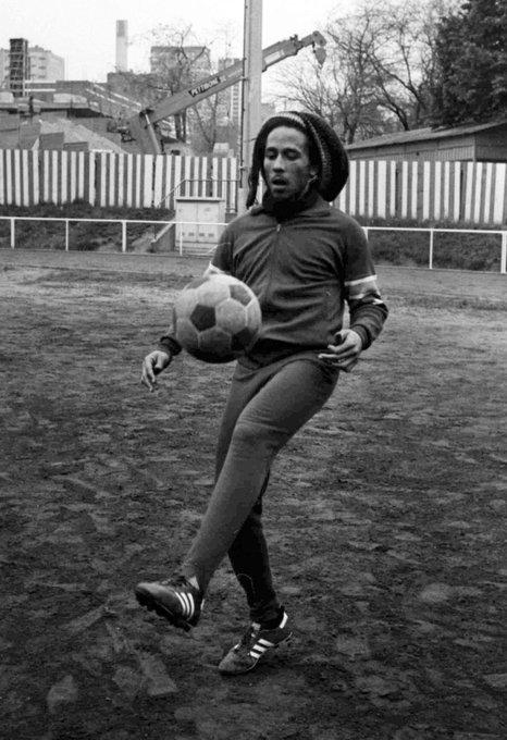 """Bob Marley \""""Football is freedom.\"""" Happy Birthday Legend"""