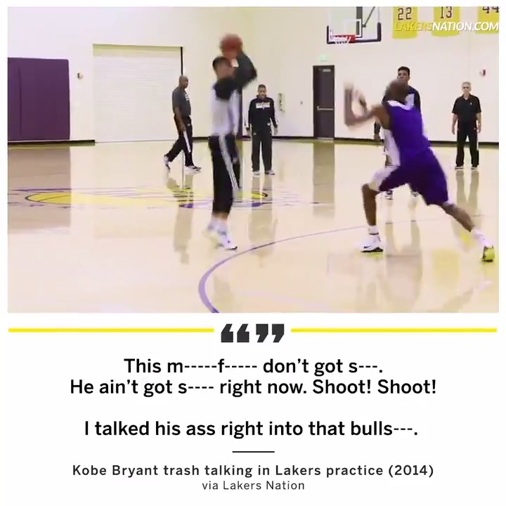 No one talked trash quite like Kobe Bryant, even to his own teammates.   (via @LakersNation) (NSFW)