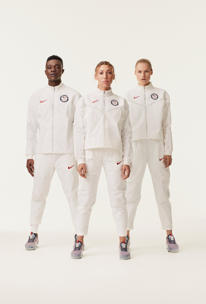 Team USA's medal stand look: Jacket & pants made from 100% recycled materials. Drawcord tips, zipper pulls, & branding/logo made w/ recycled Nike Grind rubber. Medalists' Vapormax (w/ FlyEase) footwear is made using 75% recycled manufacturing waste.