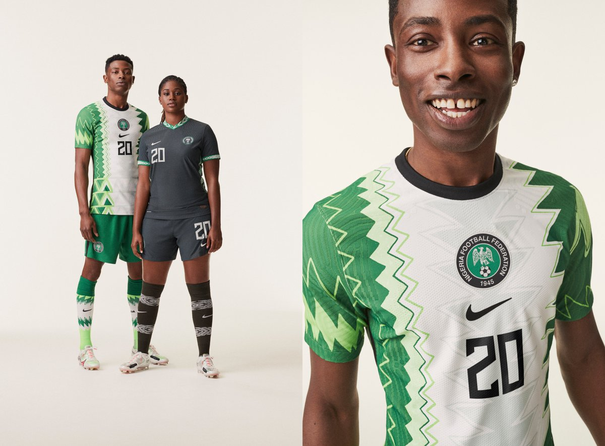 New 2020 kits for Nigeria: Home kit's hand drawn design fuses the traditional aesthetic of an agbada robe w/ modern football design. Away kit trim is inspired by Onaism. Broader collection of Super Eagles apparel includes a poncho, vest, dress, & more.