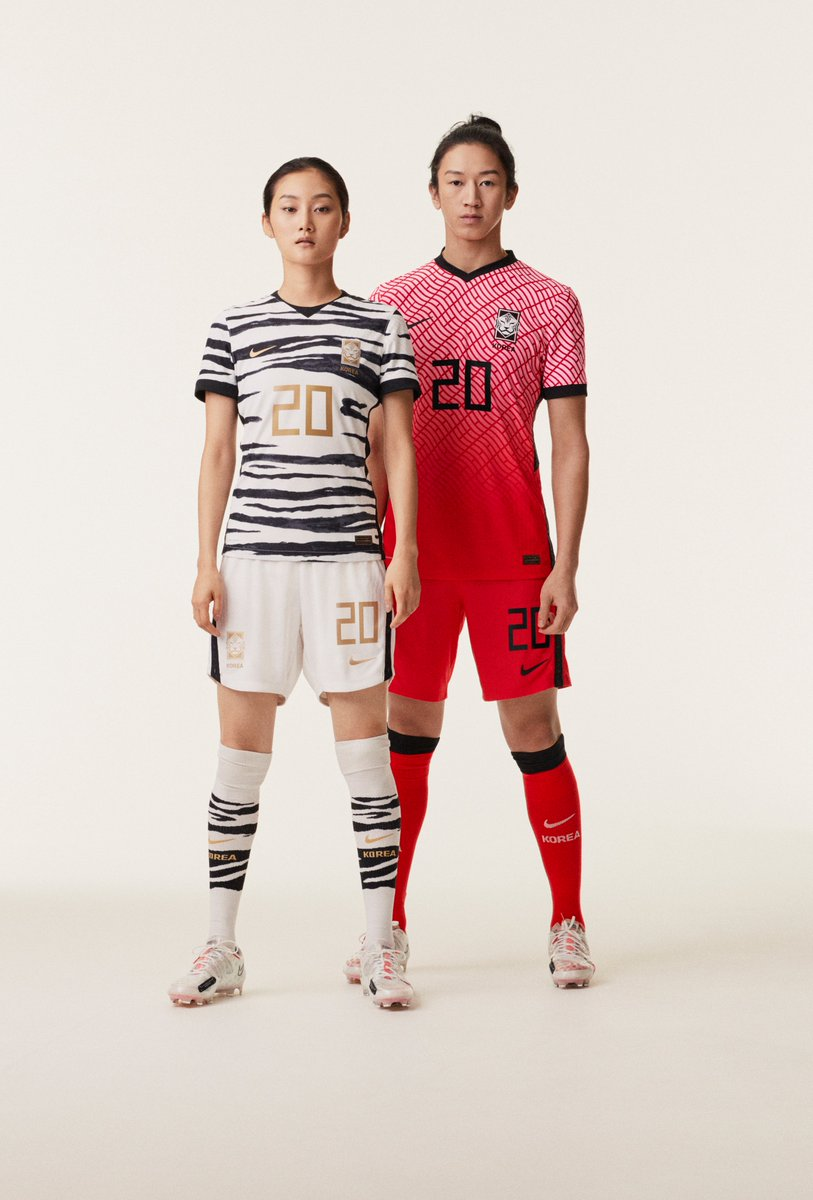 New 2020 kits for Korea: New crest! The Korean Wave (Hallyu) is represented on the home kit w/ a wavy pattern of trigrams from the national flag. Away kit pays homage to the white tiger with a hand-painted stripe print.