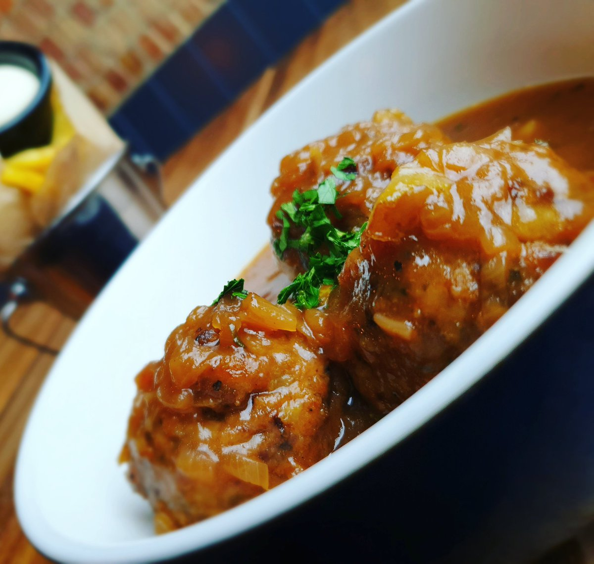 NEW SPECIAL LIÉGEOISE MEATBALLS Homemade pork and beef meatballs in an onion, HUIS Blonde beer, pear and apple butter sauce, served with twice cooked Belgian frites and mayo #liegemeatballs #meatballs #cookingwithbeer #belgianfood #eatingout #portsmouth #southsea #huissouthsea