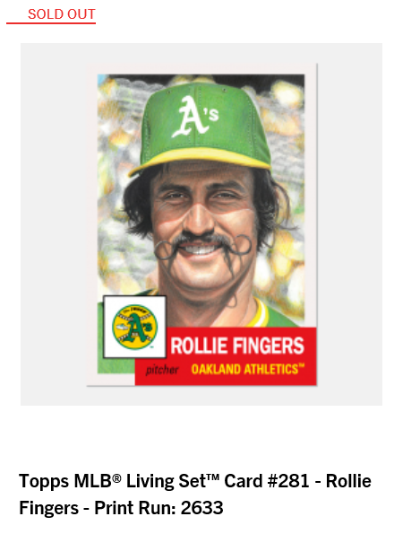 Print runs and rankings for Week 99 of the #ToppsLivingSet  #281 Rollie Fingers, Oakland Athletics - 2,633 #282 Seth Lugo, New York Mets - 2,103