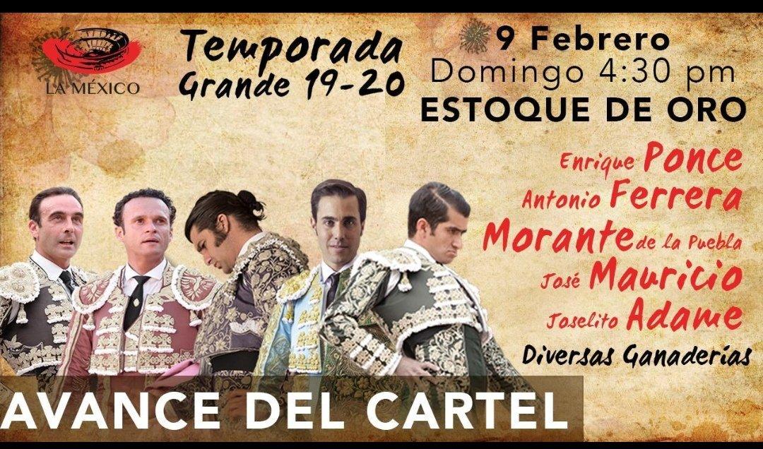 Información @Latitud_mx Avance del cartel para el Estoque de Oro en @LaPlazaMexico este próximo 9 de febrero.