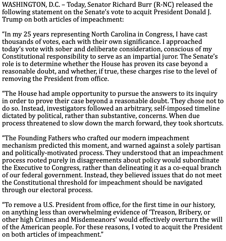 Today I voted to acquit President Trump on both articles of impeachment. Here is my full statement: