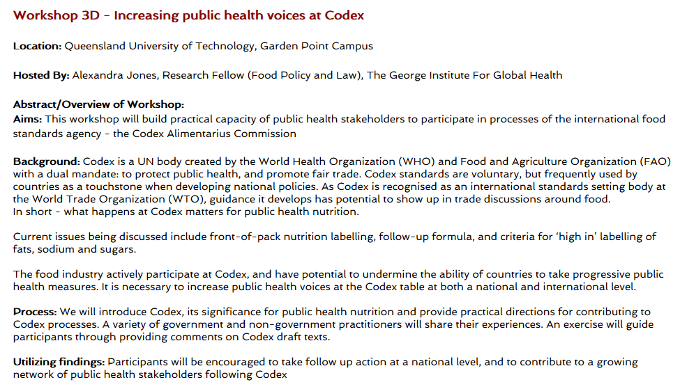 Attending the World Public Health Nutrition Congress in Brisbane? Workshop info is now up - including my session on increasing public health voices at Codex. Registration links here wphncongress2020.com/pre-congress-w… @WPHNA @WFPHA_FMASP @FAOWHOCodex