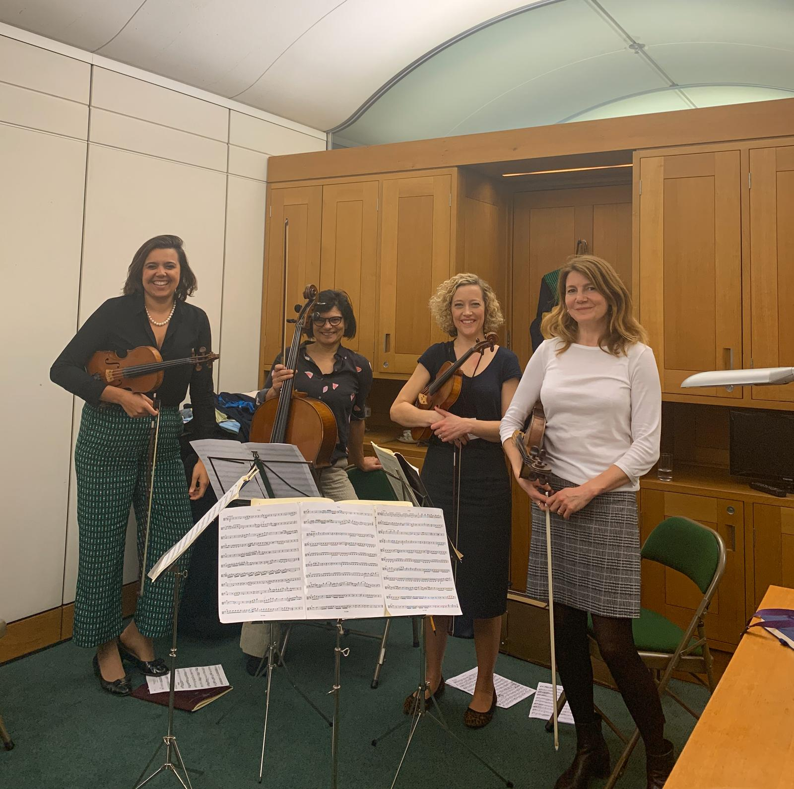 Thangam in Parliament with her string quartet, the Parliamentary Instruments.