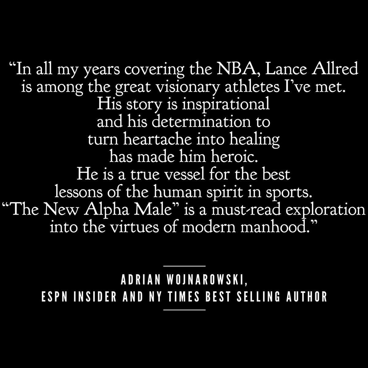 Thank you @wojespn for the beautiful testimonial on my new book, The New Alpha Male coming out March 10, with @soundstrue and @macmillanusa. Preorder your print, kindle or audiobook copy on Amazon! Tag me in shares to enter into the lottery for a free coaching session!