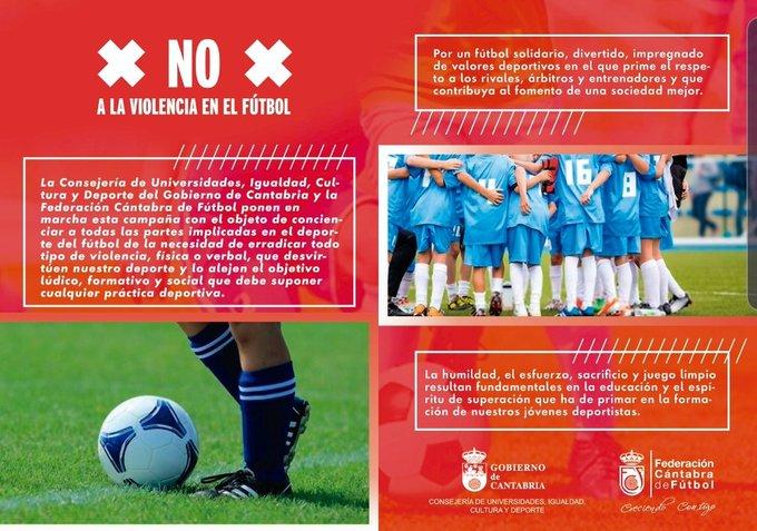 Felicidades Federación Cántabra de Futbol @fcf_es y Gobierno de Cantabria @cantabriaes.Gran iniciativa para fomentar los #valores, la #educación y el #respeto en el #deporte.Gracias @futboleducativo por darlo a conocer!! #SonNiñosNoSeasHooligan#OtraGradaEsPosible#Respect https://twitter.com/fcf_es/status/1222531945344700416…