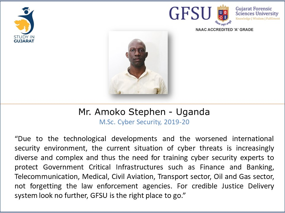 Views of Stephen from Uganda on education @GujaratForensic Sciences University, @StudyinGujarat @IndiainUganda