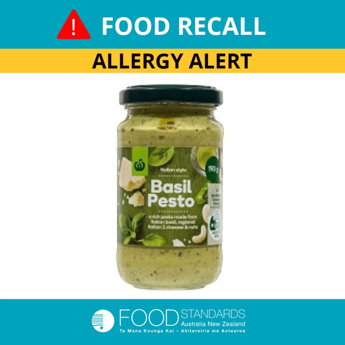 Foodstandardsausnz On Twitter Allergy Alert Woolworths Is Recalling Their Italian Style Basil Pesto 190g All Best Before Dates And All Batches Due To The Possible Presence Of An Undeclared