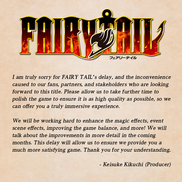 The release date for Fairy Tail has been changed to the 25th June 2020.  Full statement here: