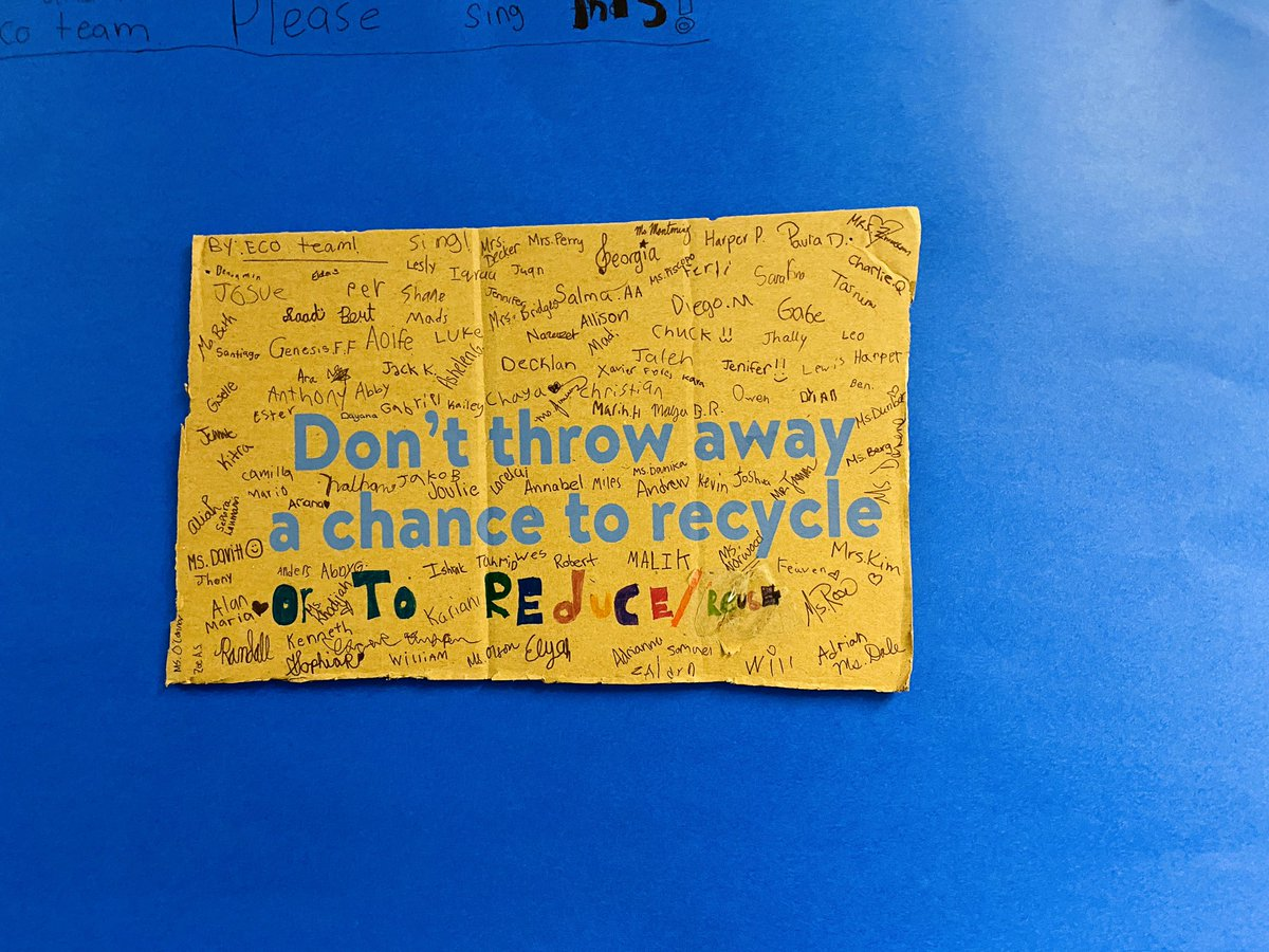 Ss from eco team were inspired to teach others about sustainability. Many 3-5 Ss were asked to sign and they hung this poster on our team's bulletin board! Elementary Ss know reducing and reusing are better than recycling! <a target='_blank' href='http://twitter.com/CampbellAPS'>@CampbellAPS</a> <a target='_blank' href='http://twitter.com/APSscience'>@APSscience</a> <a target='_blank' href='http://search.twitter.com/search?q=apsgreen'><a target='_blank' href='https://twitter.com/hashtag/apsgreen?src=hash'>#apsgreen</a></a> <a target='_blank' href='https://t.co/fiQhZisHBk'>https://t.co/fiQhZisHBk</a>
