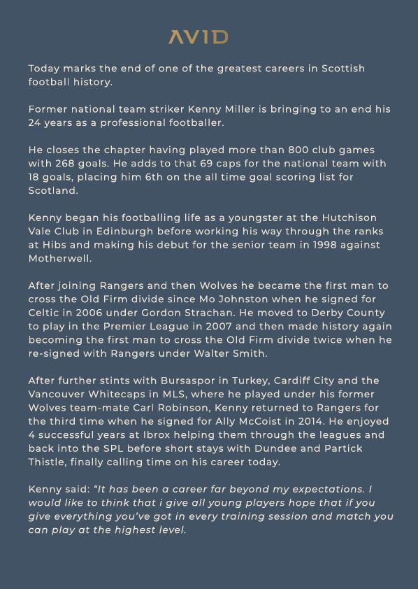 ANNOUNCEMENT - #KennyMiller retirement