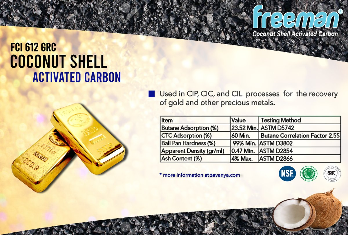 "Product of the day. ""FCI 612 GRC"", Coconut Shell Activated Carbon, used in CIP, CIC, and CIL  processes  for  the recovery of gold and other precious metals.  #activated #carbon #karbonaktif #goldrecovery #coconutshell #coconut #sheel #freeman #gold #recovery #butane #adsorption"