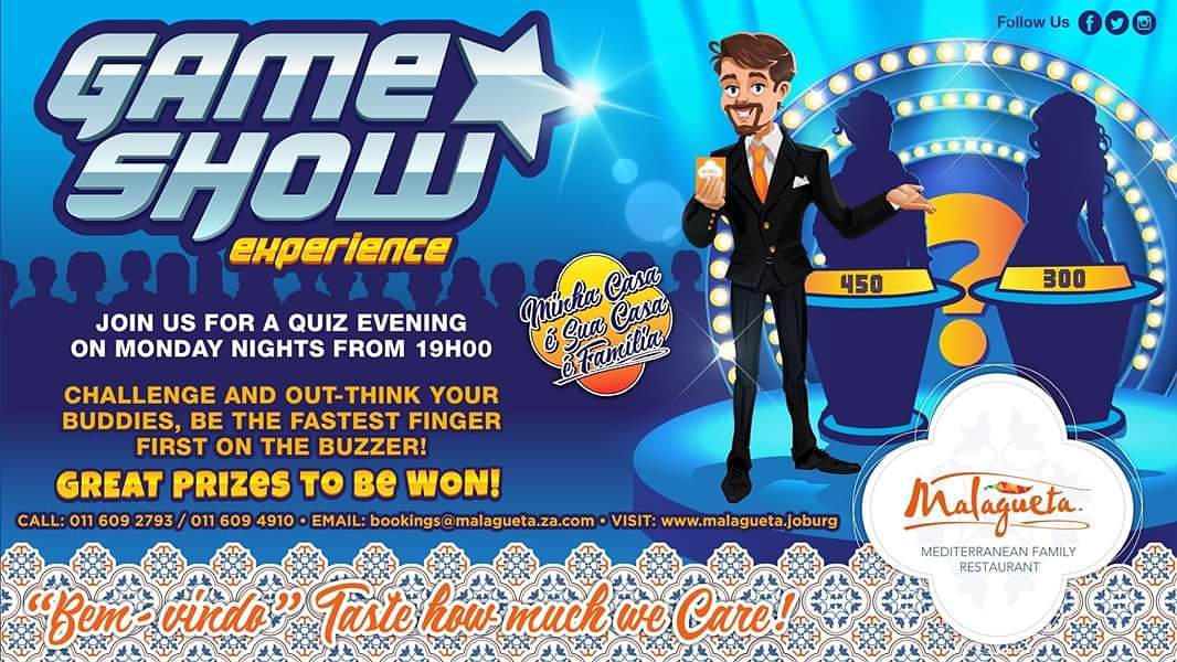 Game Show Evening Time to get your thinking Caps On.  Join us for a Quiz Evening On Monday Nights From 19H00 From The 2nd Of March 2020. Challenge And Out -Think Your Buddies,  #gmaeshows #Portuguesefood #edenvale #bedfordview #boksburg #greenstone #malagueta