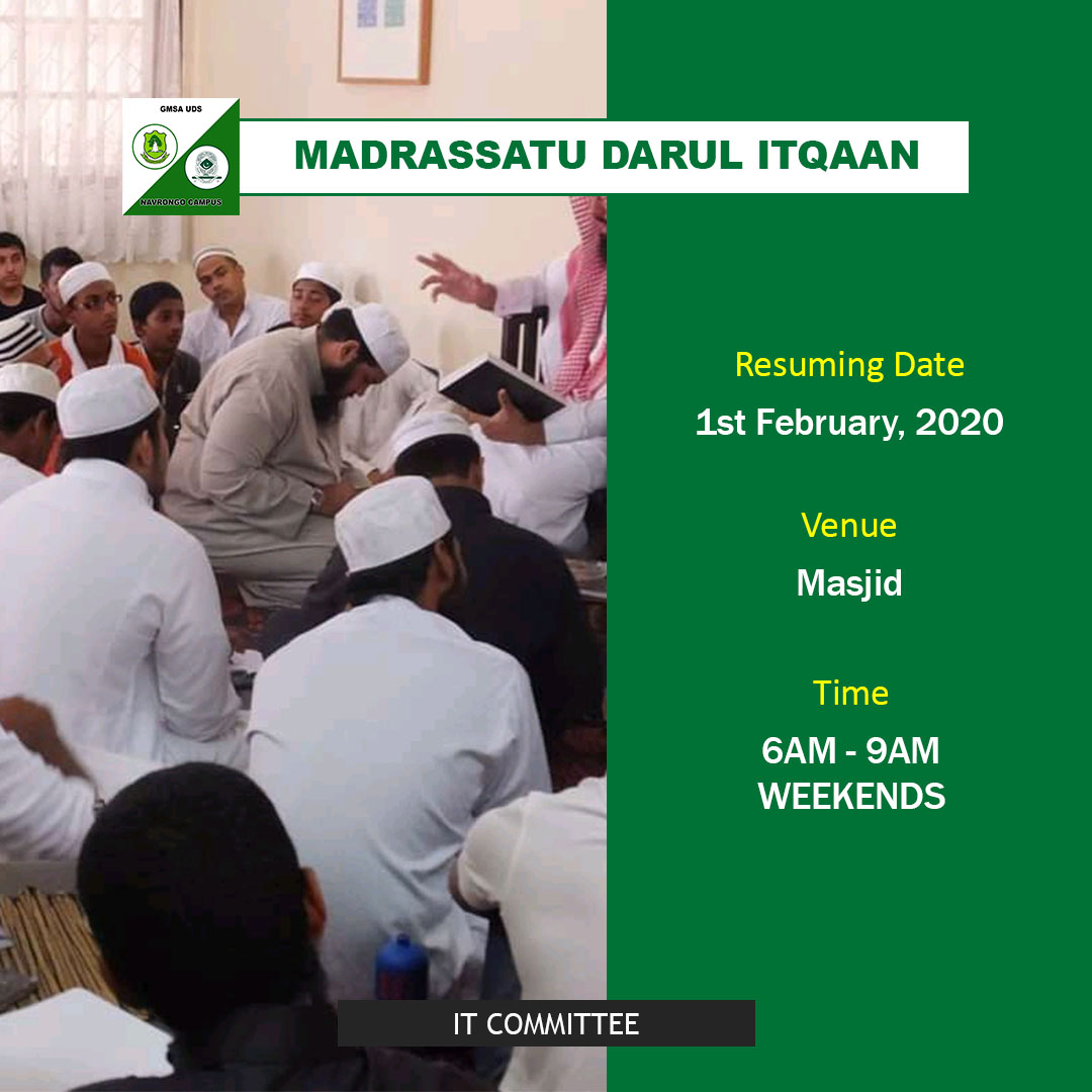 Don't miss our moral lectures on Saturdays and our madrasah, Darul Itqaan every weekend. #GMSA #GMSAUDS #GMSAUdsNav #Uds #Navrongo #IslamicSchool #MoralLectures #DarulItqaanpic.twitter.com/j0CKNQZJ56