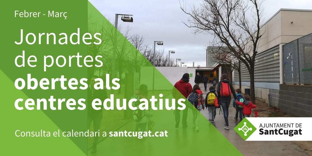 ✅ATENCIÓ  Has d'escolaritzar els teus fills o filles? 👩👧👧  Participa en les jornades de portes obertes que els centres educatius #SantCugat ofereixen durant els mesos de febrer i març 🎒🎒  Consulta el 🗓️https://t.co/UFzL4gHEtn   @pgorina1 @afes_santcugat #educacio