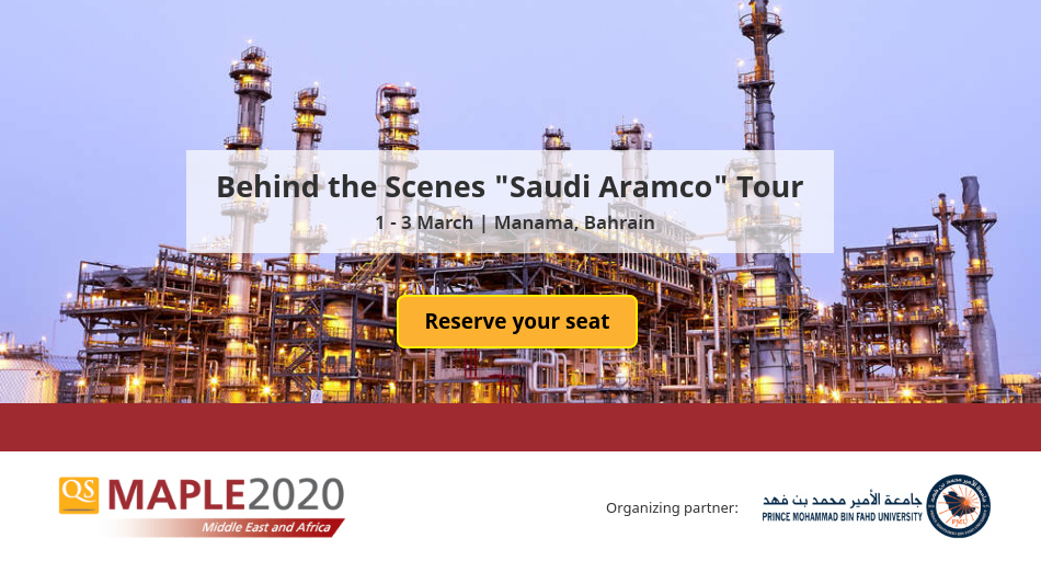 #QSmaple2020 will give its delegates an opportunity to go behind-the-scenes at Saudi Aramco. Officially known as Saudi Arabian Oil Company, Saudi Aramco is the world's biggest oil producer! Learn more: http://bit.ly/qsmaple2020saudiaramco-tour …   Register for #QSmaple2020 : http://bit.ly/qsmaple2020 pic.twitter.com/gM1UggZxaD