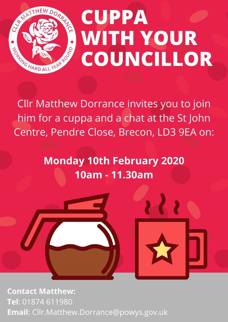 Councillor @MatthewDorrance is holding a Cuppa With Your Councillor event. Details below 👇👇👇👇👇