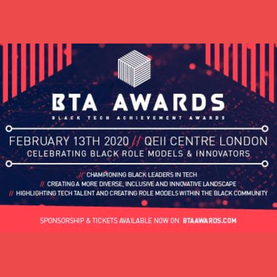 "Next week is the inaugural Black Tech Achievement Awards @BTAAwards  ""Set-up to celebrate and acknowledge black role models and innovators within the tech sector""  #BlackTechAchievementAwards #blackandbritish #blackbritish #iamblackbritish #positiveblackbritish https://t.co/PquelveCs0"