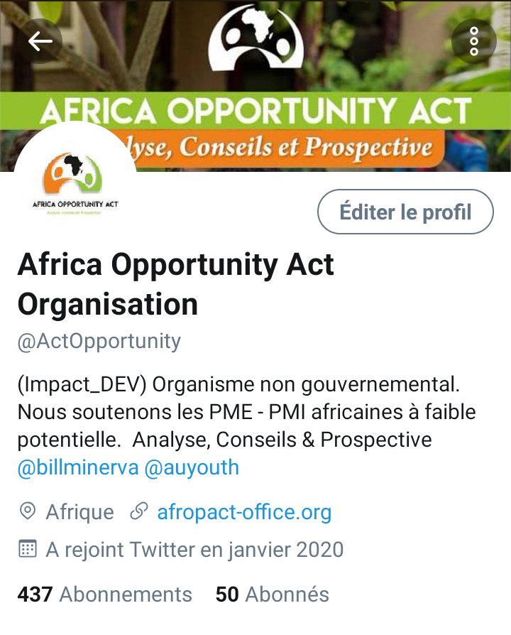 We are proud @BillMinerva & happy to announce that the bar of our subscribers has reached the number of 50. Know that we are only for economic development, entrepreneurship, good governance, respect for gender and the African Dream @auyouthenvoy_ @Agrisud_ONG @DiawaraAmadou82