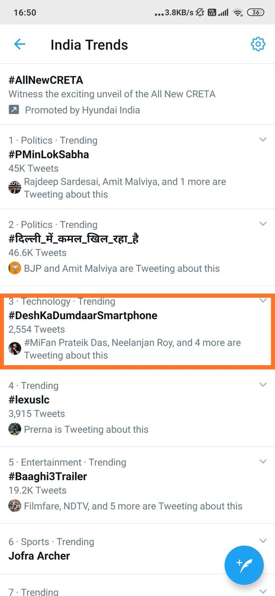 #DeshKaDumdaarSmartphone is a dumdaar #3 trend across the desh! #Redmi♥️