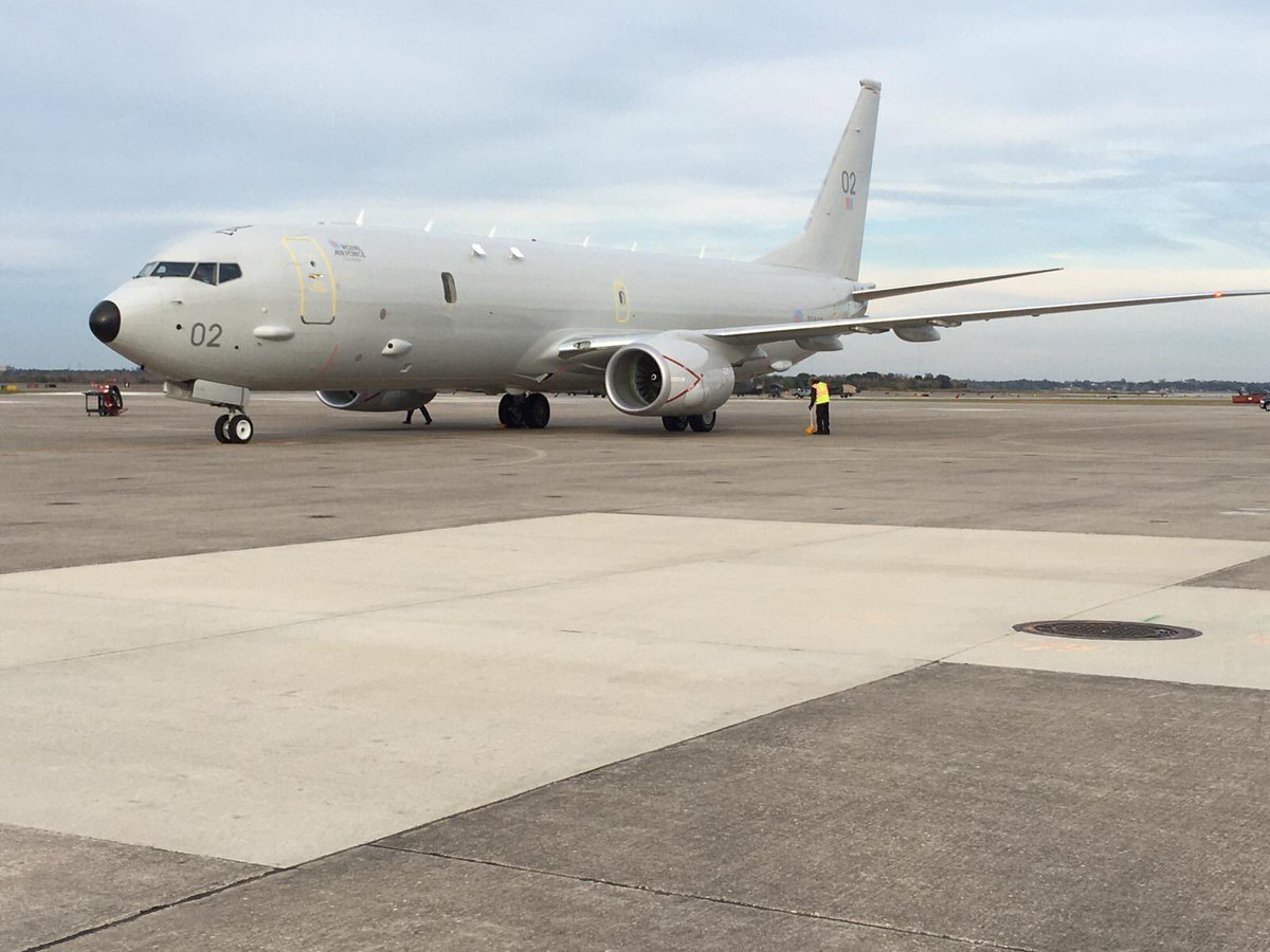 Hot on the heels of the arrival of our 1st P8 Poseidon aircraft in UK 2 days ago, here is ZP802, our 2nd P8, touched down @NASJax_ to join the RAF team. All being well she will arrive @Kinloss_Bks in mid-March.   Our Poseidon Wing grows.   #NextGenRAFpic.twitter.com/4Ws6eLK7sT