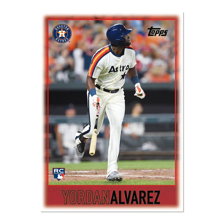 The rookies are here!  New #ToppsThrowbackThursday features the 1997 Topps Baseball design  #31 Yordan Alvarez, Astros #32 Aristides Aquino, Reds #33 Dylan Cease, White Sox #34 Jesus Luzardo, Athletics #35 Brendan McKay, Rays #36 Bubba Starling, Royals <br>http://pic.twitter.com/a6iLnDGOA5