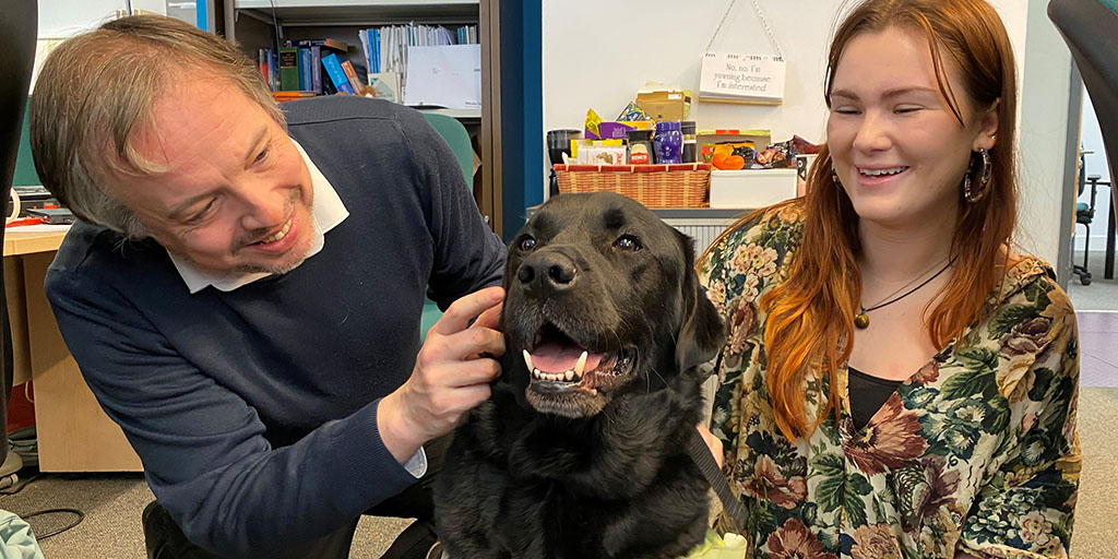 As well as carrying out his main role as Mikes perfectly trained guide dog, Mac is dedicated to spreading positivity and joy throughout our offices! #ReclaimSocial @guidedogs