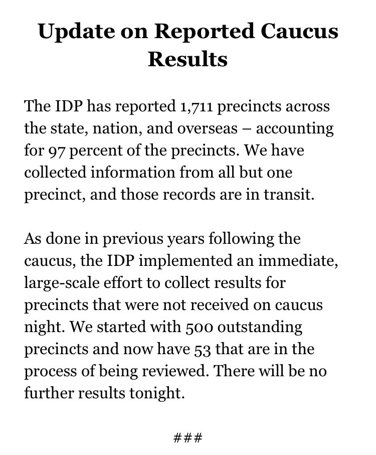 The Iowa Democratic Party put out this statement at 12:30 a.m. CT
