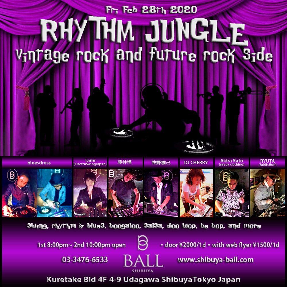 """2月28日金曜日はShibuya CLUB BALL で開催の""""Rhythm Jungle Feb vintage rock and future rock side 今月より 偶数月の第四金曜日復帰してDj参加 させて頂きます^_^ 皆さんよろしくお願い致します^_^ みなさんのお越しをお待ちしております‼︎#渋谷 #club #dj #shibuya #shibuyaclubball pic.twitter.com/bMikLE6HgA"""