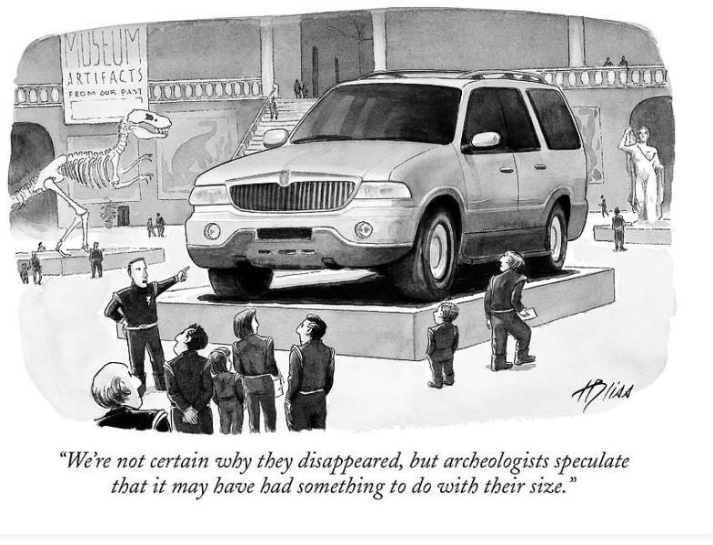 Este es el día con carro para los políticos, van a sus anchas en 4x4 blindadas que pagamos con nuestros impuestos. Hoy es bueno recordar esta caricatura de @Blisscartoons en el @NewYorker hace unos años. Los políticos aprobaron el día sin carro para todos pero no para ellos.