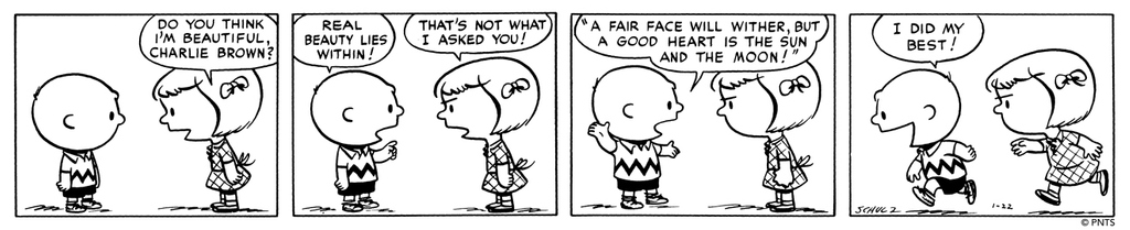 #ThursdayThoughts for the week, courtesy of Good ol Charlie Brown! This Peanuts strip was first published on January 22, 1951. 