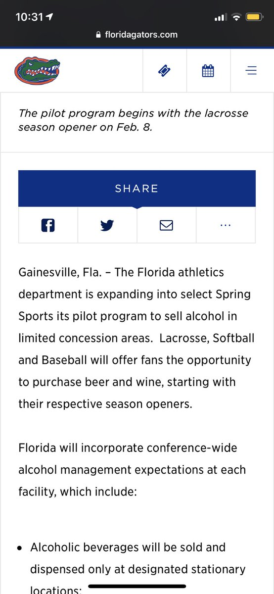 Florida announces plans to sell alcohol at baseball, softball and lacrosse games this season @alligatorSports