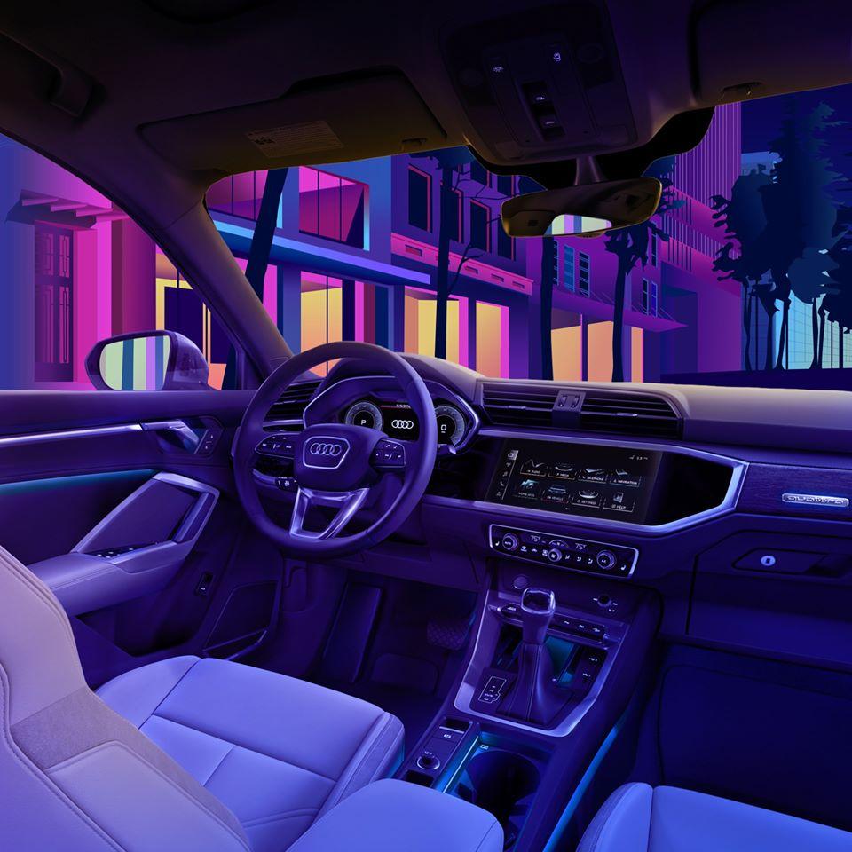 Éclairage d'ambiance.  #Audi #Q3 #AudiGuadeloupe https://t.co/bUIBeLIbVP