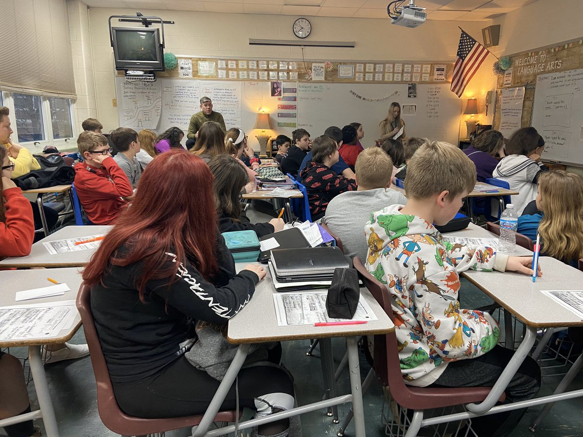 Mr. Taylor dove right in and taught Mrs. Helms' core 2 class today! #OHbettertogether. @BridgetownMS #OHBMSBest