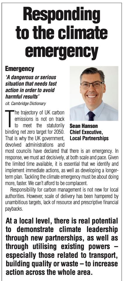 "READ: ""Responding to the climate emergency""   Sean Hanson (@LP_SeanHanson) Chief Executive of Local Partnerships writing in today's @themjcouk about local authority #response to the #climateemergency.  Read here: https://t.co/NuiGOXVHUZ"