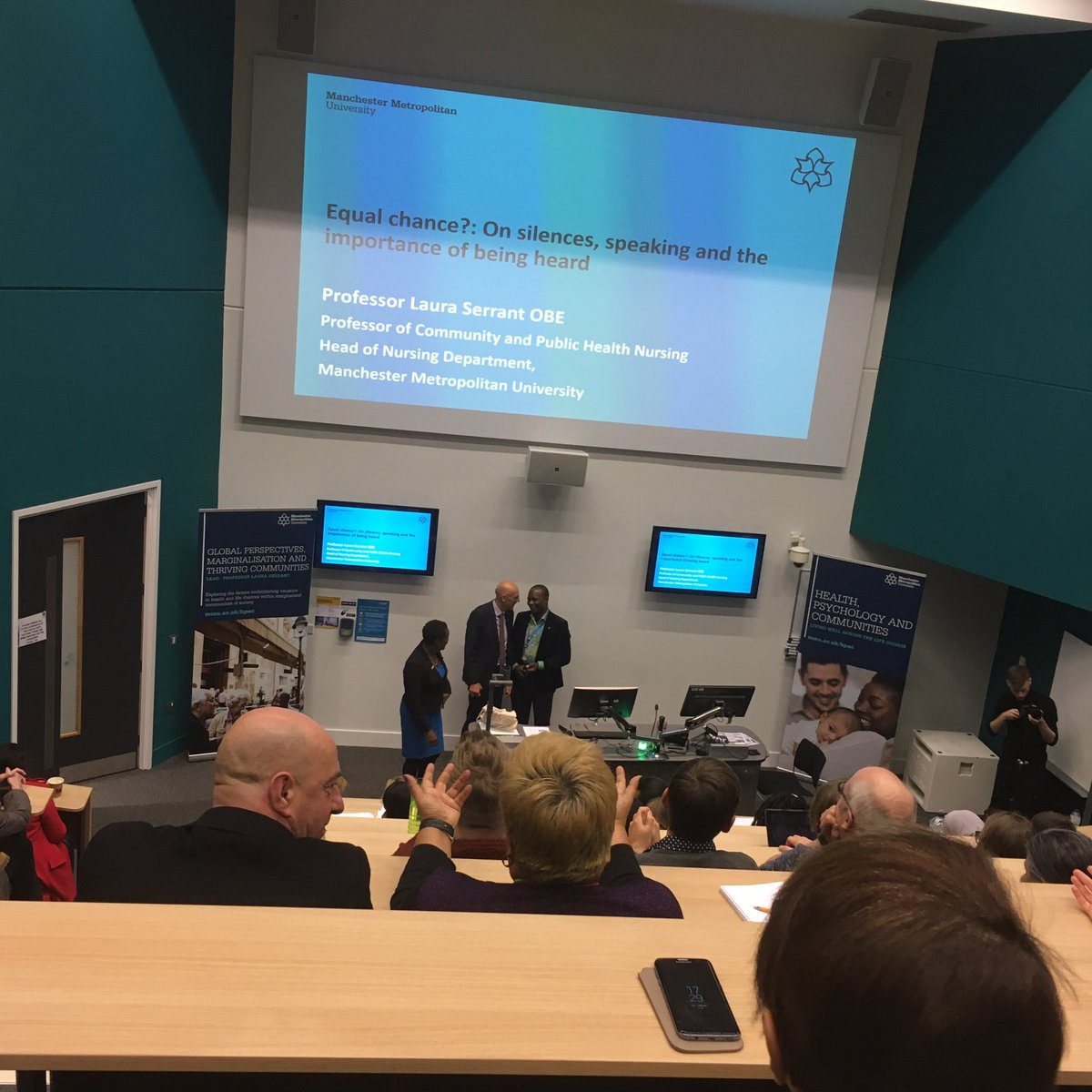 A packed lecture theatre for @lauraserrant inaugural lecture! @HPSCResearch
