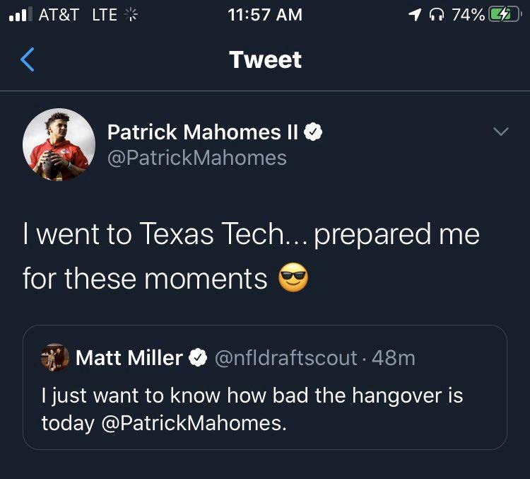 All hail, Patrick Mahomes. King of Texas Tech.